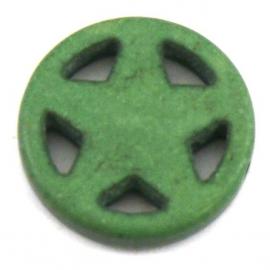 BJ328 keramiek kraal rond 20mm sherrifstar kleur mosgroen