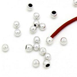 DQ metaal eindkraal bol voor 2mm rond leer - maat 4x4mm - gat 2mm (B06-048-AS)