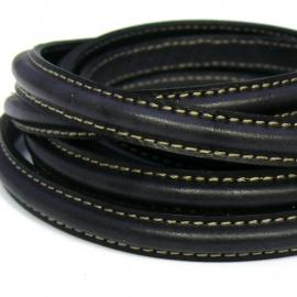 dubbel gestikt half ovaal leer met tunnelbuis 5x10mm - kleur zwart - 20 cm
