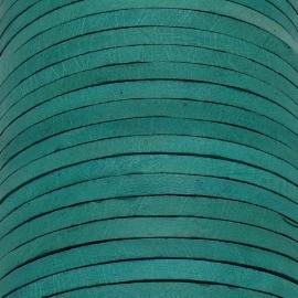 lederen band smal 5mm - dik 2mm - kleur vintage teal green - 20cm (PL05-022)