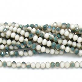 glaskraal rondel facet 6x8mm - streng van ongeveer 72 kralen (BGK-006-029) kleur cream diamond coating