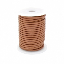 DQ rond leer 3mm - 1 meter - kleur HONEY (no. 03/07)