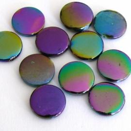 schelp kraal rond 14mm kleur parelmoer zwart/paars (BJSC055) - 5 stuks