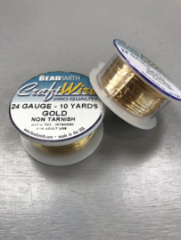 Craftwire Beadsmith - kleur Gold Non Tarnish - 24 gauge - 10 yards