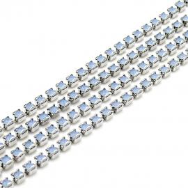 swarovski cupchain 27001 p18 setting Rhodium - kleur air blue opal (prijs per 1 cm)