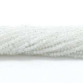 glaskraal rondel facet 2x3mm - circa 148 kralen (BGK-007-002) kleur Crystal AB