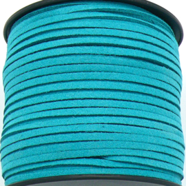 imitatie suede veter 3mm breed - 2m lang - kleur - Dark Turquoise