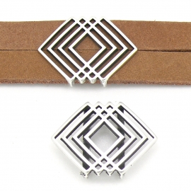 DQ metaal schuifkraal Boho geometrisch 30x22mm voor 20mm breed leer (gat 2,5x20mm) (B04-148-AS)