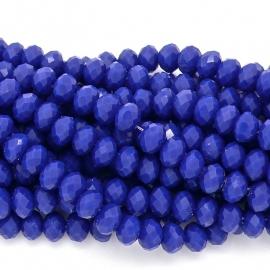 glaskraal rondel facet 4x6mm - streng van ongeveer 100 kralen (BGK-005-038) kleur cobalt blue