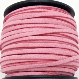 imitatie suede veter 3mm breed - 2m lang - kleur strong pink (BSL-3-04)
