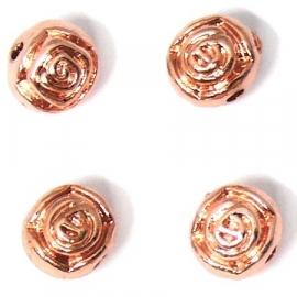 DQ metaal ROSE kraal roosje 7mm (D10728)