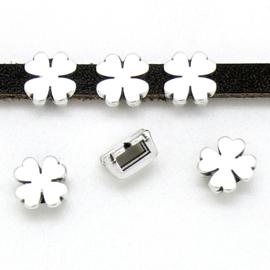 DQ metaal schuifkraal klavertje vier voor 5mm plat leer - maat 8x8mm - gat 2,5x5mm (B04-189-AS)