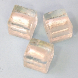 (BJW006) glaskraal crystal silverfoil vierkant 12mm - 2 stuks