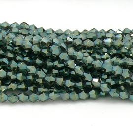 glaskraal bicone 4mm - circa 110  kralen (BGK-008-028) kleur Crystal Green/Gold AB