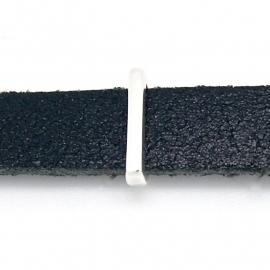 DQ metaal schuifkraal voor 10mm breed leer - letter I - maat 2x14mm - gat 2,5x10mm (B04-076-AS)