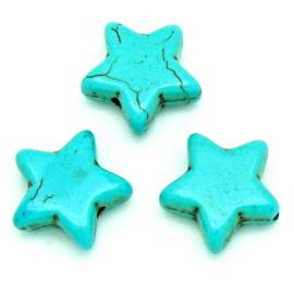 keramiek kraal ster 20mm kleur turquoise (KERT-20-02)