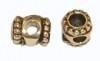 DQ metaal ANTIQUE GOUD tonnetje `otazu` 8x9mm voor 2x ss16mm swarovskisteen