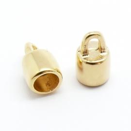 DQ metaal GOUD eindkap voor 6mm rond leer (gat 6mm) (B06-019-SG)