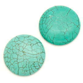 cabochon natuursteen - turquois -rond 30mm (SD238291)