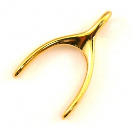 DQ metaal GOUD bedel wishbone 15x24mm (B02-042-SG)