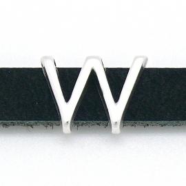 DQ metaal schuifkraal voor 10mm breed leer - letter W- maat 14x19mm - gat 2,5x10mm (B04-090-AS)