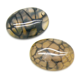 cabochon natuursteen ovaal - natural dragon veins brown - 7x22x30mm - 1 stuks
