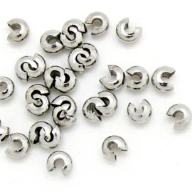 knijpkraalverberger glad zilver 4mm - 10 stuks