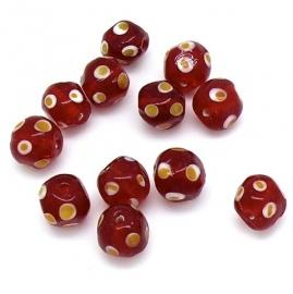 glaskraal rond 11mm rood met geel/witte stippen (BJR023)
