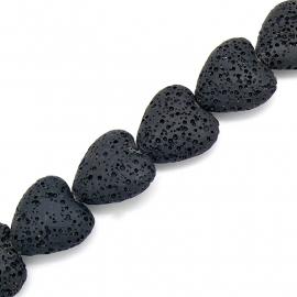 kraal van zandlava hart 20mm kleur zwart