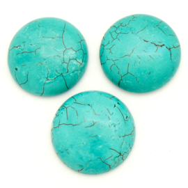cabochon natuursteen - turquois - rond 25mm (SD23323)