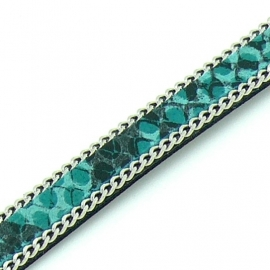 DQ professional platte leerband 10mm breed, circa 2mm dik,, 20cm lang snake turquoise met ketting (PL10-HLSCP-14)