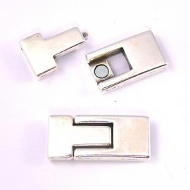 DQ metaal magneetsluiting voor 10mm breed leer - gat 2x10mm (B07-042-AS)