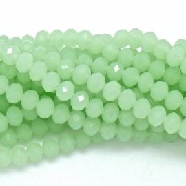 glaskraal rondel facet 4x6mm - streng van ongeveer 100 kralen (BGK-005-032) kleur chrysolite green