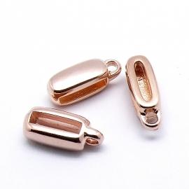 DQ metaal ROSE GOLD schuifkraal langwerpig met oogje voor 10mm breed leer 6x16mm (gat 2,5x10mm) (B04-005-RG)
