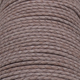 DQ 3mm rondgevlochten soft leather- kleur vintage baby pink - 20cm (BRGL-3-08)