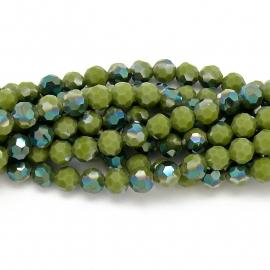 glaskraal rond facet 8mm - circa 35  kralen (BGK-003-018) kleur light dark green diamond coating