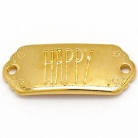 """DQ metaal GOUD tussenzetsel met tekst """"HAPPY"""" 12x30mm (B03-040-SG)"""