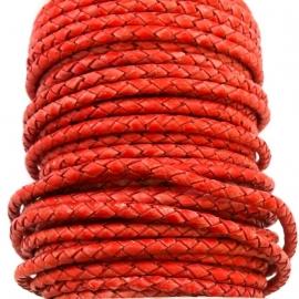 DQ 4mm rondgevlochten Goat Leather (BJSE-PB/Red) - 20cm