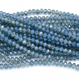 glaskraal rondel facet 4x6mm - streng van ongeveer 100 kralen (BGK-005-014) kleur Metalic Transparant Montana