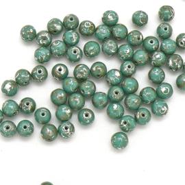PB6-63130/43400 Tsjechisch ronde glaskraal 6mm Jade Picasso - 25 stuks
