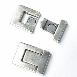 DQ metaal magneetsluiting voor 20mm breed leer gat 2x20.5mm (B07-033-AS)