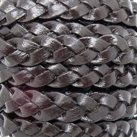 DQ plat platgevlochten leer 10mm breed DONKERBRUIN 20cm