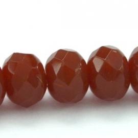 glasraal facet semirond 6x9mm kleur bruin opaal (BK4658)