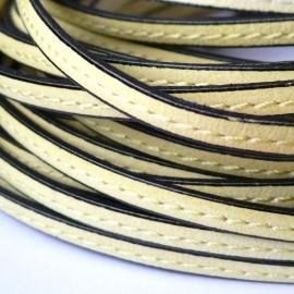 DQ leren band smal 5mm enkel gestikt pastel yellow - 20cm