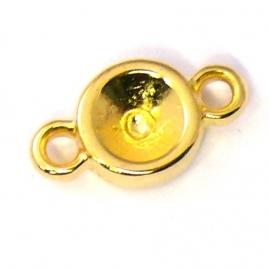 DQ metaal GOUD tussenzetsel rond met 2 ogen voor ss29 (B03-003-SG)