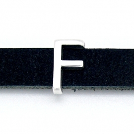 DQ metaal schuifkraal voor 10mm breed leer - letter F - maat 8x13mm - gat 2,5x10mm (B04-073-AS)