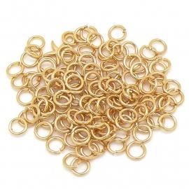 DQ metaal GOUD open ring 5mm 0.8mm dik voor bedels met klein oog (B05-051-SG) - 20 stuks