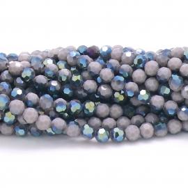 glaskraal rond facet 6mm - streng van ongeveer 100 kralen (BGK-002-030) kleur opaque lila diamond coating