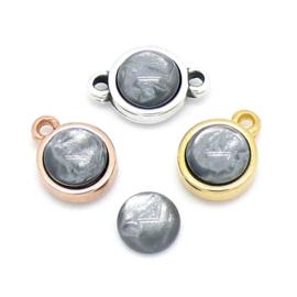 polariscabochon pearl rond 7,2/8mm - kleur grey pearl (CAB-07-006)