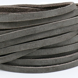 DQ leren band smal 5mm - 2,2 dik circa 100cm lang - kleur buffel taupe/grijs (PL05-005)